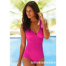 Women's Deep V Back Cross One Piece Swimsuit Padded Swimwear Bodysuit Swimwear Black Blue Fuchsia Breathable Quick Dry Comfortable Sleeveless - Swimming Surfin