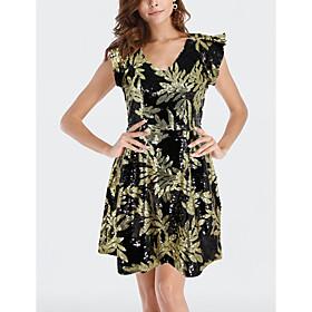 Women's A-Line Dress Knee Length Dress - Sleeveless Floral Print Sequins Summer V Neck Sexy Party Club 2020 Black S M L XL XXL
