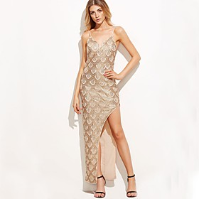 Women's A-Line Dress Maxi long Dress - Sleeveless Solid Color Backless Sequins Summer V Neck Sexy Party Slim 2020 Blushing Pink S M L XL