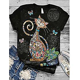 Women's T-shirt Cat Print Round Neck Tops Basic Basic Top Black