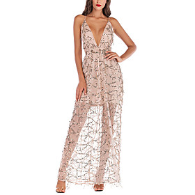 Women's A-Line Dress Maxi long Dress - Sleeveless Solid Color Backless Sequins Summer V Neck Sexy Party Club 2020 White Black S M L XL