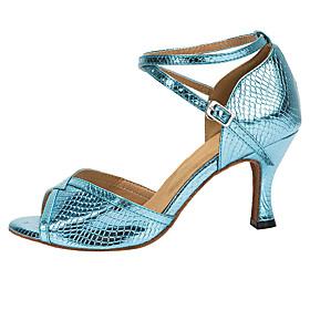 Women's Latin Shoes Heel Flared Heel PU Leather Buckle Blue