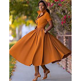 Women's A-Line Dress Midi Dress - Half Sleeve Split Summer Fall V Neck Hot Sexy 2020 Army Green Orange S M L XL