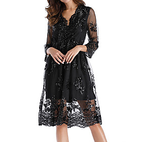 Women's A-Line Dress Knee Length Dress - 3/4 Length Sleeve Floral Embroidered Mesh Fall V Neck Casual Holiday Going out Mesh Black Gold S M L XL XXL