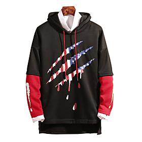 Men's Hoodie Color Block Hooded Basic Hoodies Sweatshirts  Black