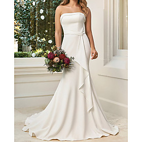 A-Line Wedding Dresses Sweetheart Neckline Court Train Satin Sleeveless Simple with Draping 2020