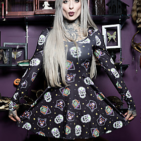 Women's A-Line Dress Short Mini Dress - Long Sleeve Print Summer Square Neck Vintage Slim 2020 Black S M L XL