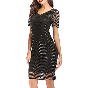 Women's A-Line Dress Knee Length Dress - Short Sleeve Solid Color Mesh Patchwork Zipper Summer V Neck Sexy Party Club 2020 Black Beige S M L XL XXL