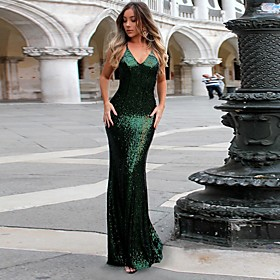 Women's Sheath Dress Maxi long Dress - Sleeveless Solid Color Backless Sequins Summer Sexy Party Slim 2020 Black Red Green Royal Blue S M L XL