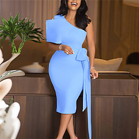 Women's A-Line Dress Knee Length Dress - Sleeveless Solid Color Backless Bow Ruched Summer One Shoulder Sexy Slim 2020 Blue S M L XL XXL