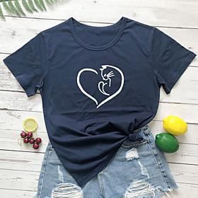Women's T-shirt Heart Graphic Prints Letter Print Round Neck Tops Slim 100% Cotton Basic Basic Top White Black Yellow