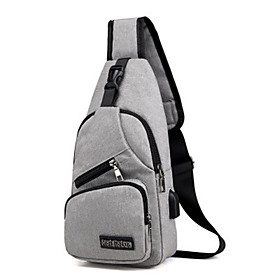 Men's Bags Oxford Cloth Sling Shoulder Bag Zipper for Daily Black / Dark Blue / Gray