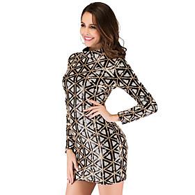Women's A-Line Dress Short Mini Dress - Long Sleeve Geometric Sequins Summer Sexy Party Club 2020 Blue Wine Gold Silver S M L XL XXL