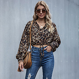 Women's Blouse Shirt Leopard Cheetah Print Long Sleeve Bow Pleated Patchwork V Neck Tops Basic Basic Top Brown