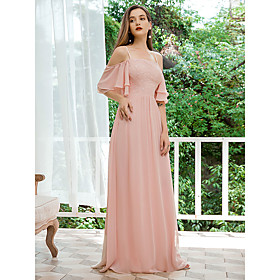 Women's A-Line Dress Maxi long Dress - Short Sleeve Solid Color Lace Spring Summer Off Shoulder Formal Elegant Party Beach Chiffon Loose 2020 Blushing Pink S M