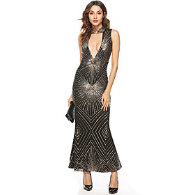 Women's A-Line Dress Maxi long Dress - Sleeveless Solid Color Sequins Embroidered Tassel Fringe Summer V Neck Sexy Party Club Slim 2020 Black S M L XL XXL