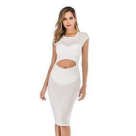 Women's A-Line Dress Knee Length Dress - Short Sleeve Solid Color Summer Sexy Party Going out Slim 2020 White S M L XL