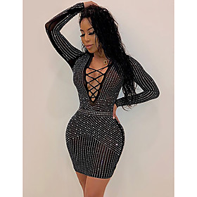 Women's Sheath Dress Short Mini Dress - Long Sleeve Solid Color Sequins Mesh Summer V Neck Sexy Party Club Slim 2020 Black S M L XL