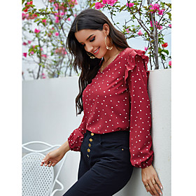 Women's Blouse Shirt Polka Dot Long Sleeve Ruffle V Neck Tops Basic Basic Top Red