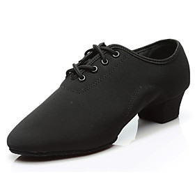 Men's Dance Shoes Latin Shoes / Jazz Shoes / Dance Sneakers Oxford Thick Heel Customizable Black / Performance / Ballroom Shoes / Leather / Practice