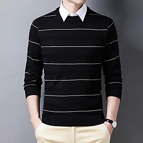 Men's Basic Stripe Striped Pullover Long Sleeve Sweater Cardigans Crew Neck Fall Winter Black Blue Wine