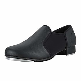 unisex pu leather slip on tap shoe dance shoes for women and menamp; #39;s dance shoes-black-11m