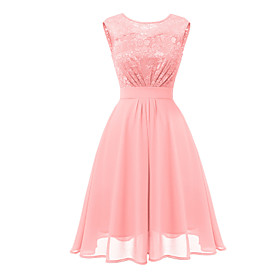 Women's A-Line Dress Knee Length Dress - Sleeveless Solid Color Lace Backless Patchwork Summer Elegant Party Slim 2020 Blushing Pink S M L XL XXL