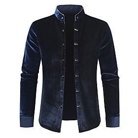 Men's Jacket Long Solid Colored Daily Basic Black Navy Blue XL XXL XXXL