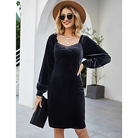 Women's A-Line Dress Knee Length Dress - Long Sleeve Solid Color Patchwork Spring Summer Square Neck Casual Lantern Sleeve Slim 2020 Red Royal Blue S M L XL