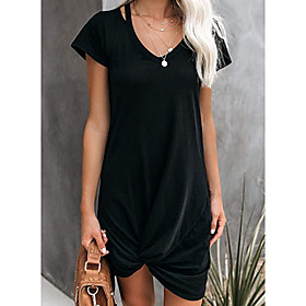 Women's A-Line Dress Knee Length Dress - Short Sleeve Solid Color Ruched Summer V Neck Casual Going out Slim 2020 Black Navy Blue Gray Light Blue S M L XL XXL