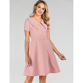 Women's A-Line Dress Knee Length Dress - Short Sleeve Solid Color Summer Shirt Collar Elegant 2020 Blushing Pink S M L XL XXL