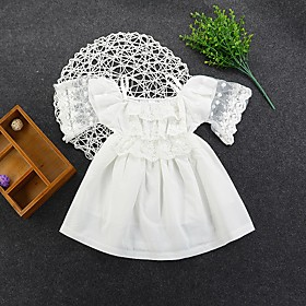 Kids Girls' Active Cute White Solid Colored Lace Trims Sleeveless Knee-length Dress White