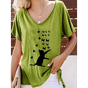 Women's Plus Size Tunic Cat Butterfly Animal Pleated Print Round Neck Tops Loose Basic Basic Top Red Yellow Green