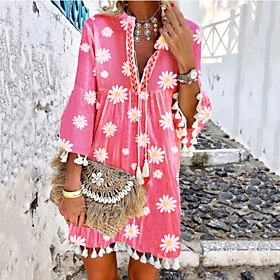 Women's A-Line Dress Knee Length Dress - 3/4 Length Sleeve Print Print Summer V Neck Casual Hot Boho Holiday Loose 2020 Blushing Pink S M L XL XXL 3XL 4XL