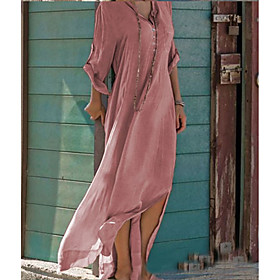 Women's Sundress Maxi long Dress - Long Sleeve Solid Color Split Summer V Neck Casual Holiday Loose 2020 Blushing Pink Khaki Light Blue S M L XL XXL