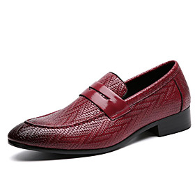 Men's Loafers  Slip-Ons Business Daily PU Wear Proof Wine / Black / Brown Fall