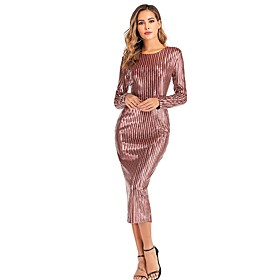 Women's A-Line Dress Midi Dress - Long Sleeve Striped Backless Sequins Summer Sexy Party Club 2020 Wine S M L XL