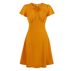 Women's A-Line Dress Knee Length Dress - Short Sleeve Solid Color Bow Zipper Summer Shirt Collar Vintage Slim 2020 Orange S M L XL XXL 3XL 4XL