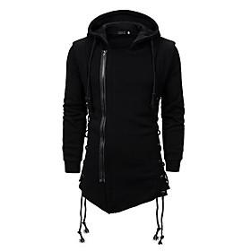 Men's Hooded Overcoat Long Solid Colored Daily Basic Long Sleeve Black US32 / UK32 / EU40 US36 / UK36 / EU44 US40 / UK40 / EU48