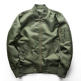 Men's Jacket Regular Solid Colored Daily Basic Long Sleeve Black Army Green Dusty Blue M L XL / Work