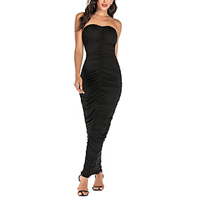 Women's A-Line Dress Maxi long Dress - Sleeveless Solid Color Ruched Summer Strapless Sexy Party Slim 2020 Black Blue Red S M L XL