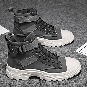 Men's Boots Work Boots Casual / Vintage Daily Party  Evening Walking Shoes Canvas Non-slipping Shock Absorbing Mid-Calf Boots Black / Beige / Gray Summer / Fal