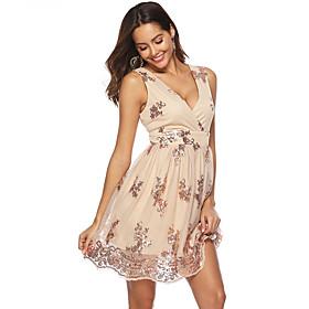 Women's A-Line Dress Knee Length Dress - Sleeveless Print Sequins Layered Print Summer V Neck Sexy Party Club Slim 2020 Black Gold S M L XL XXL