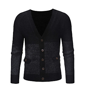 Men's Leisure Classic Knitted Solid Colored Cardigan Long Sleeve Sweater Cardigans V Neck Fall Winter Black Camel Dark Gray