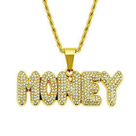 Men's White Crystal Lockets Necklace Pave Hip Hop Alloy Gold 75 cm Necklace Jewelry 1pc For Party Evening Street