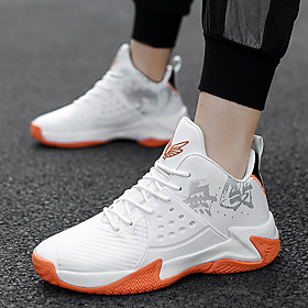 Men's Basketball Shoes Sporty / Classic / Preppy Athletic Outdoor Running Shoes / Basketball Shoes PU Breathable Warm Non-slipping Black / Red / White / Black