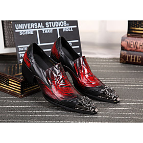 Men's Loafers  Slip-Ons Casual Daily Leather Non-slipping Black / Red Fall / Rivet