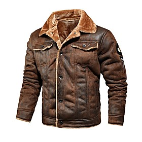 Men's Jacket Regular Solid Colored Daily Long Sleeve Faux Leather Black Khaki Brown M L XL