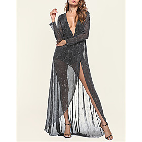Women's A-Line Dress Maxi long Dress - Long Sleeve Solid Color Lace Sequins Patchwork Spring Fall V Neck Sexy Party Club 2020 Black Dark Gray S M L XL XXL