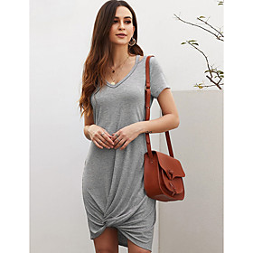 Women's A-Line Dress Knee Length Dress - Short Sleeve Solid Color Patchwork Summer V Neck Casual Slim 2020 Black Blue Red Gray S M L XL
